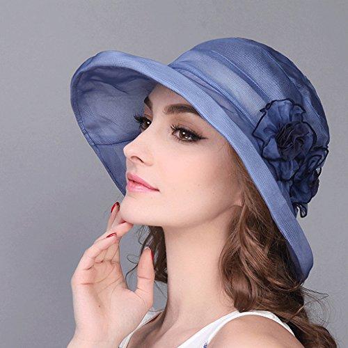 Da Sole Viola Qiqidedian Di colore Cappello Blu Elegante Seta Estivo Femminile RgwRHqd