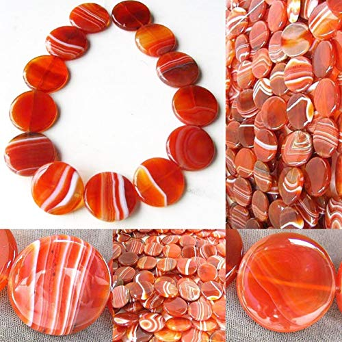 (Red/Orange Sardonyx Agate Coin Pendant Bead for Jewelry Making 5677)
