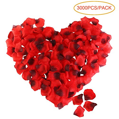 Tinksky Artificial Flowers Rose Petal Roseleaf Wedding Valentine's Day Artificial Flowers Wedding Favors 3000pcs (Red Black)