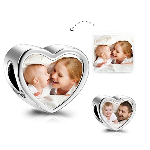 (LONAGO Customized Personalized Photo Charms Sterling Silver Heart Shaped Charm Beads Front and Back Photo (Double Love))
