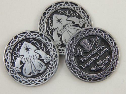 "SIX (6) Pewter CLADDAGH Pocket Tokens LOVE Friendship & LOYALTY - 1"" Metal Coins - INSPIRATIONAL Gift - IRISH BLESSINGS KEEPSAKE"