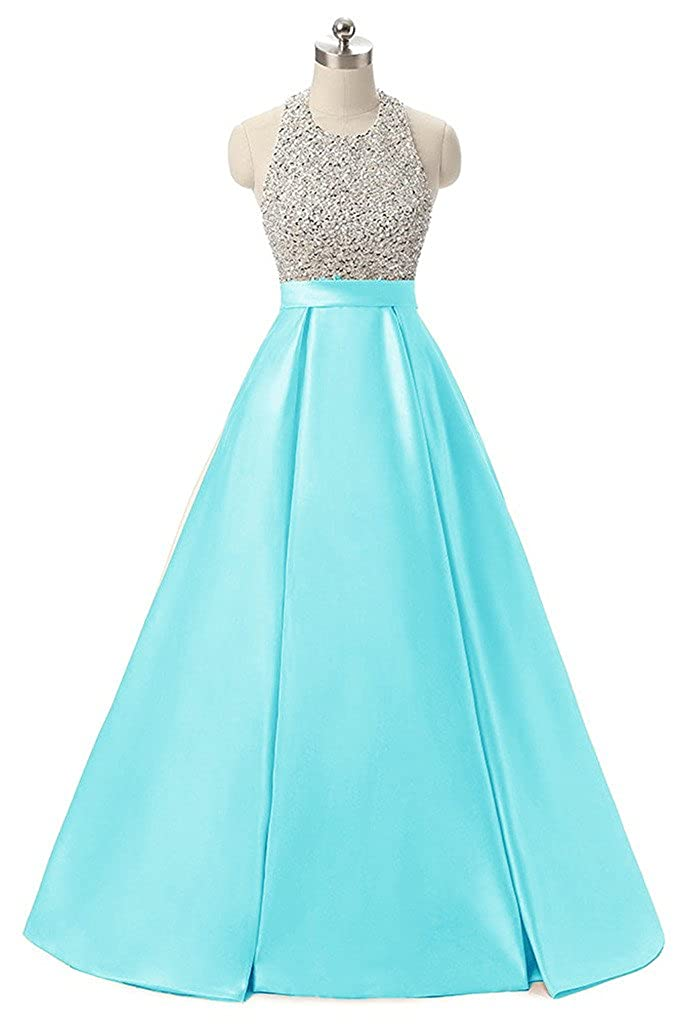 Turquoise APXPF Women's Long Beaded Halter Formal Prom Dress Evening Party Gown