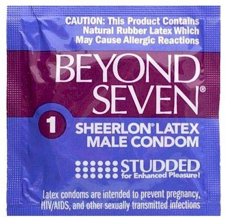 (Beyond Seven by Okamoto Ribbed/Studded Ultra Thin Sheerlon Lubricated Latex Condoms with Pocket/Travel Case-24 Count (Brass Case))