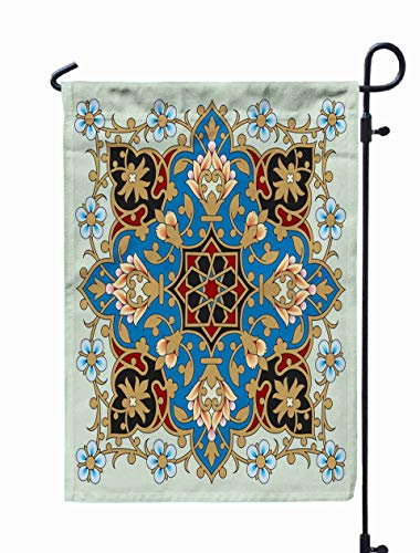 (Shorping Yard Garden Flag, 12x18Inch for Holiday and Seasonal Double-Sided Printing Yards Flags Arabic Floral Border Traditional Islamic)