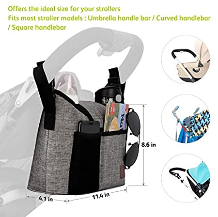 Grey 13L Large Storage for Baby Accessories with 2 Side Bottle Holders Full Raincover /& Shoulder Strap Used as Carry-On Handbag-Universal Fit All Pushchair Models Pram Buggy Organiser Bag