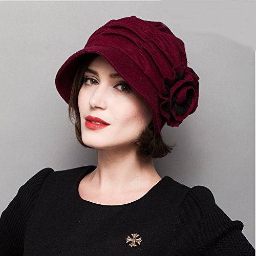 Maitose&Trade; Women's Decorative Flowers Wool Beret Red by Maitose (Image #2)
