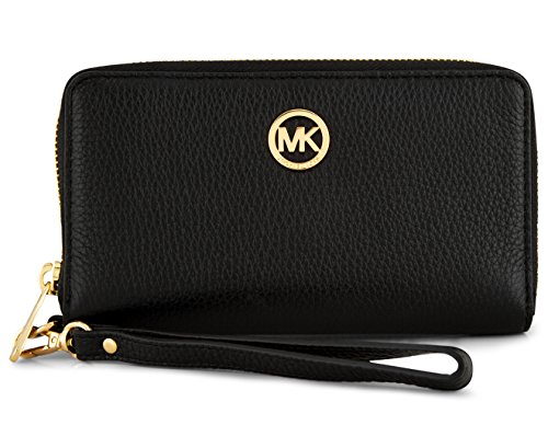Camel Pebbled - Michael Kors Fulton Large Flat Multi Function Leather Phone Case (Black)