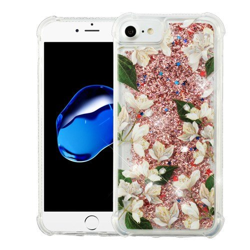 ShopAegis - [GLITTER QUICKSAND] [Rose Gold] White Rose Pedals Rose Gold Confetti Floating Liquid Hybrid Phone Cover Case for Apple iPhone 8/7