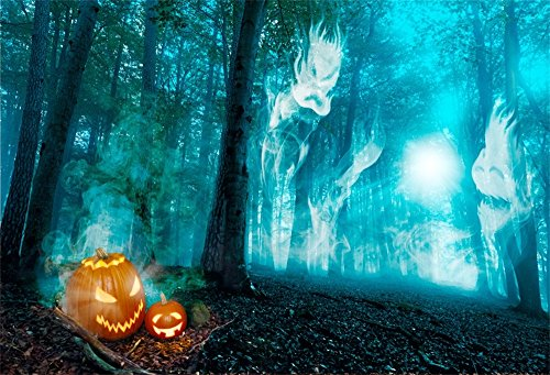 LFEEY 7x5ft Glowing Pumpkin Photo Background Scray Forest Spirits Ghost in Woods Mystery Halloween Photography Props Jack O'Lantern Horror Backdrop Children Kids Party Photo Studio Props ()