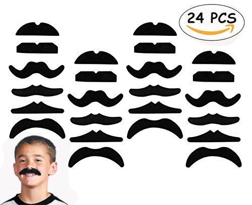 Bandit Costume For Girl (24 PCS Fake Mustaches,Mustache Party,Mustache for Masquerade Party and Performance)