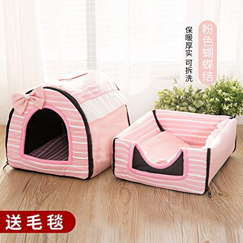 Kennel winter medium-sized small di dog house cat pet house bed washable four seasons universal yurt, striped pink, L, 60cm47cm45cm