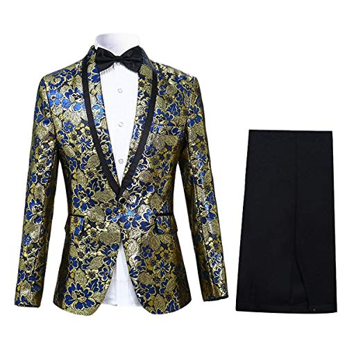 Cloudstyle Men's Tuxedo Casual Dress Suit Slim Fit Jacket & Trouser Gold Acetate Flat Front Pants