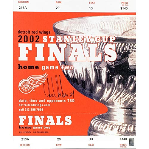 (Chris Chelios Detroit Red Wings FAN Autographed Signed 14 X 34 2002 Stanley Cup Final Canvas Mega Ticket - Certified Signature)