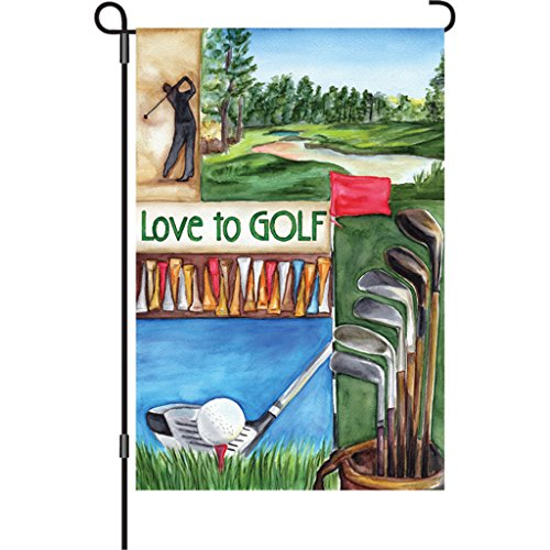Illuminated Flag, Love Golf, 12 by 18-Inch (Golf Garden Flag)