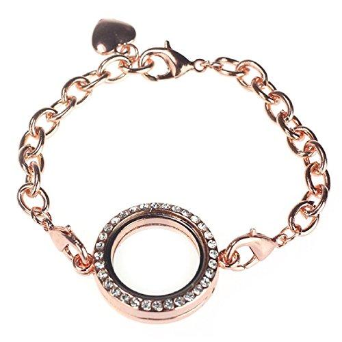Bracelet - SODIAL(R)Fashion Circle Magnetic Locket Bracelet Crystal Floating Living Memory (Rose Gold)