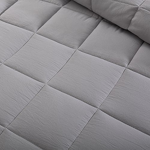 EVOLIVE All Season Pre Washed Soft Microfiber White Goose Down Alternative Comforter (Grey, Full/Queen) by EVOLIVE (Image #4)