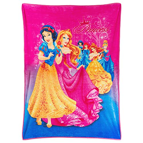Princess Disney Princesses Cinderella, Snow White, Ariel, Jasmine, Belle and Sleeping Beauty, Plush, Ultra Soft to The Touch, Silky, Pink and Blue 46