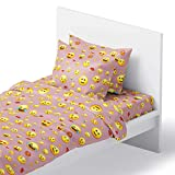 Emoji Bed Set Full Chital Full Bed Sheets for Girls | 4 Pc Colorful Kids Bedding Set | Pink Emoji Print | Durable Super-Soft, Double-Brushed Microfiber | 1 Flat & 1 Fitted Sheet, 2 Pillow Cases | 15