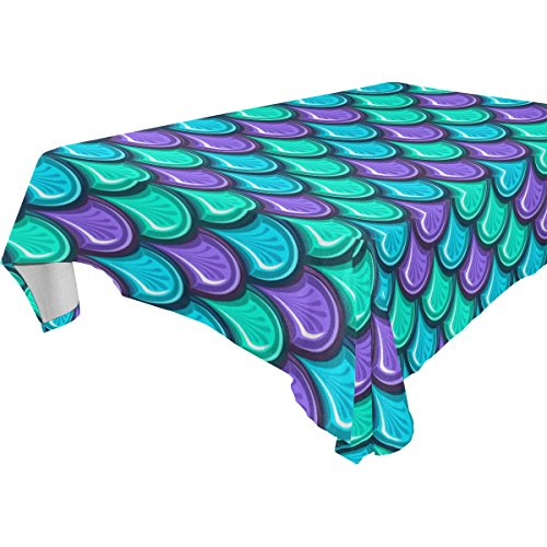 ALIREA Rectangle Fish Mermaid Scales Tablecloth for Wedding
