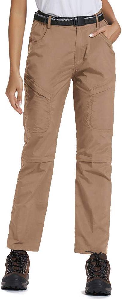 Asfixiado Women's Hiking Pants Stretch Outdoor Lightweight Quick Dry Convertible Elastic Waist UPF 50 Cargo Capri with Pockets