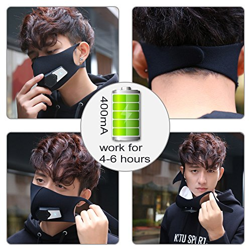 Smart Electric Masks Fresh Air Purifying Mask Anti Pollution Mask N95 for Exhaust Gas, Pollen Allergy, PM2.5, Running, Cycling and Outdoor Activities (Black, mask) by ruishenger (Image #2)