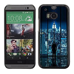 Be Good Phone Accessory // Dura Cáscara cubierta Protectora Caso Carcasa Funda de Protección para HTC One M8 // City Skyline Sci-Fi Futuristic Night Lights Nyc