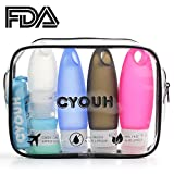 Travel Bottles Portable Leak Proof Silicone Refillable Travel Containers Toiletry Bottles Squeezable Travel Tube Sets With Shower Lanyard for Shampoo Lotion Soap TSA Approved 3.3 oz by CYOUH