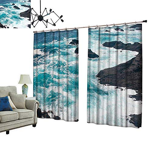 PRUNUS Blackout Window Curtain with hookThe Waves of a Torrent Balance Indoor Temperature,W120 xL114 ()