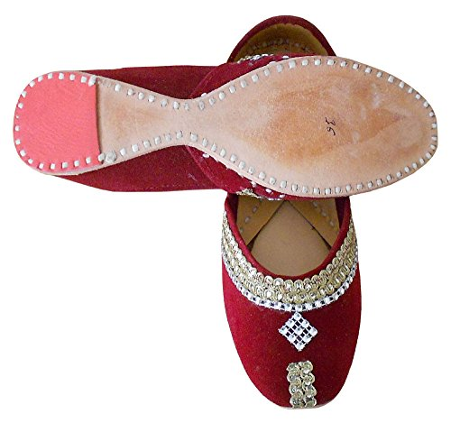 Kalra Creations Women's Traditional Indian Velvet with Sequence Work Designer Shoes Maroon Oamoamq4PU
