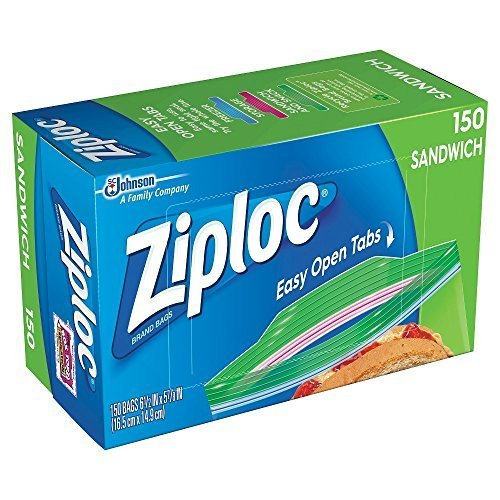 Ziploc Sandwich Bags, Pack of 150, 6.5 x 5.875-Inch (16.5 cm x 14.9 -