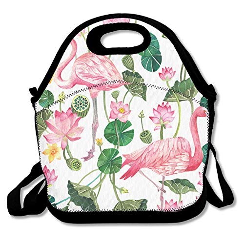 f8cfbb96ac93 SARA NELL Neoprene Lunch Bag Pink Flamingo and Lotus Lunch Tote Bags Lunch  Backpack Lunchbox Handbag with Adjustable Shoulder Strap for Work School ...