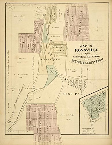 Historic 1876 Map | Map of Rossville and Southern Extention of Binghampton [sic] | Broome County (N.Y.)Atlases of the United States | New historical atlas of Broome Co., New York, - York Broome The New