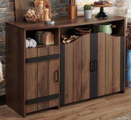 Sideboard Buffet Storage Cabinet- Distressed Walnut Wood Rustic Country Design 47 Inch -Showcase Your Home Decor While Meeting Your Storage Needs