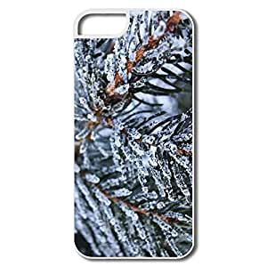 IPhone 5 5S Hard Plastic Cases, Tree Spruce White Cases For IPhone 5S