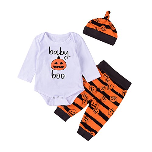 Newborn Baby Boys Girls Pumpkin Long Sleeve Romper Pants & Hat Halloween Outfit (6-12 Months, White+Orange) (Halloween Outfit 9-12 Months)