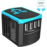 Universal Travel Adapter, All-in-one International Power Plugs High Speed 2.4A 4 USB Wall Charging Ports, Covers Asia…