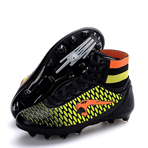 Lovers Soccer Shoes/Comfort Leather Soccer Cleats/Football Boots/Soccer Anti-Slip, Casual Long Spike Shoes, Men's Training Low-Top Sneakers,Black,41