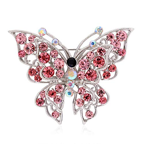 61 Style Women Retro Rhinestone Crystal Flower Wedding Bridal Corsage Brooch Pin | StyleID - #48_ Pink Diamond Butterfly