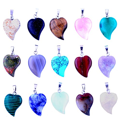Heart Stone Pendants 20pcs Small Healing Rock Chakra DIY Crystal Charms Love Heart for Necklace Earring Jewelry Making (20 Colors)
