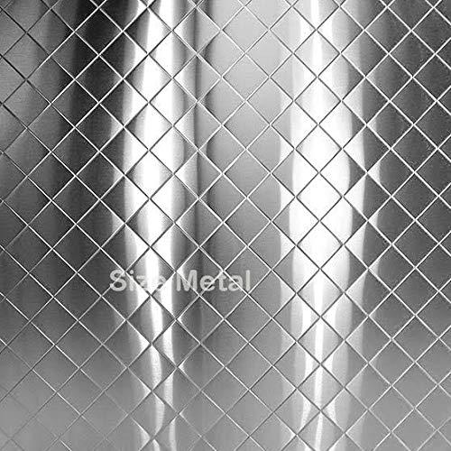 """- 3 sheets of Polished 48/"""" x 96/"""" Chrome .025 Diamond Plate Sheet 4x8"""
