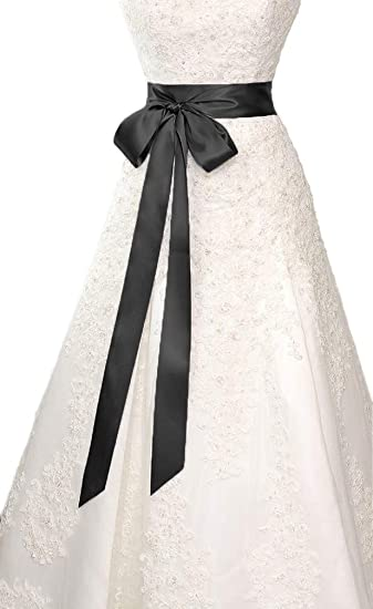 26779f65f3b6 Wedding Sash Bridal Belts Simple Classic Silk Ribbon Sash for Dress (Black)  at Amazon Women's Clothing store: