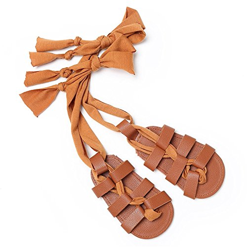 Isbasic Baby Boys Girls Gladiator Sandals Artificial Leather Rubber Sole Roman Lace up Shoes (3-8 Months, A-Brown) -