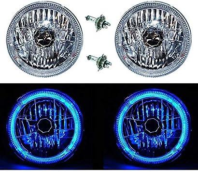 "7/"" Halogen LED Blue Halo Angel Eyes Headlight Headlamp H4 Light Bulbs Pair"