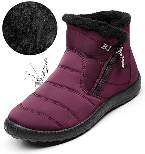 LINGTOM Women's Snow Boots Winter B-wine Red