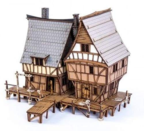 Fabled Realms - Mordanburg Buildings 28mm Dockside Houses w/Wharf (Pre-Painted)