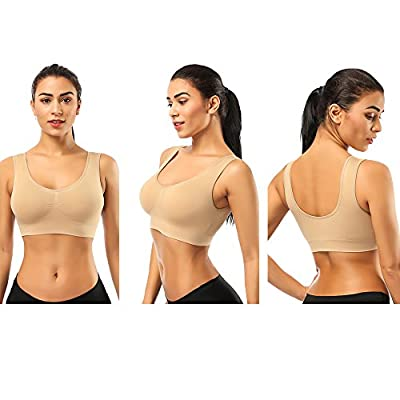 BESTENA Comfort Bra, 2 Pack Seamless Removable Pads Sleep Bras, Yoga Bra, Sports Bras for Women at Women's Clothing store