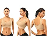 SIMIYA Sports Bras for Women, Multi Pack Seamless Comfortable Yoga Bra Plus Size with Removable Pads