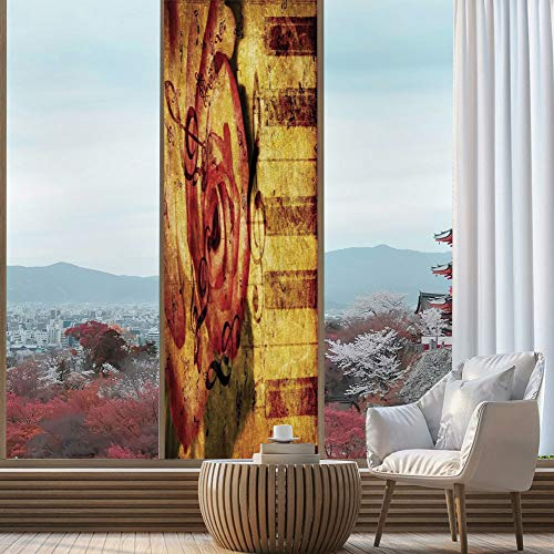 YOLIYANA Privacy Window Film Decorative,Roses Decorations,for Glass Non-Adhesive,Vintage Background with Piano Keyboard and Grand Majestic,24''x78''