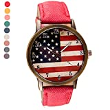 YANG-YI Fashion American Flag pattern Leather Band Analog Quartz Vogue Wrist Watches