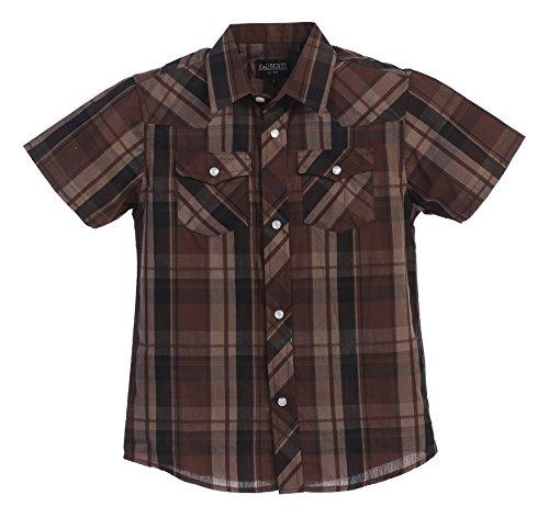 Gioberti Boys Casual Western Plaid Pearl Snap Short Sleeve Shirt, Dark Brown/Black : Size (Checkered Western Shirt)